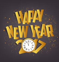 Letter folding with paper and clock happy new year vector