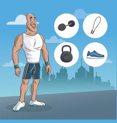 Man sport muscular strong urban background vector