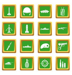 Military icons set green vector