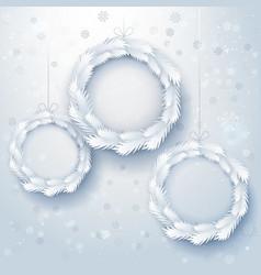 paper art xmas wreaths vector image
