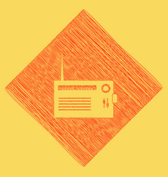 Radio sign red scribble icon vector