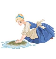 Sad cinderella cleaning the floor vector