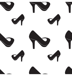 Seamless pattern of silhouettes of women shoes vector image