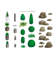 Set of landscape elements vector