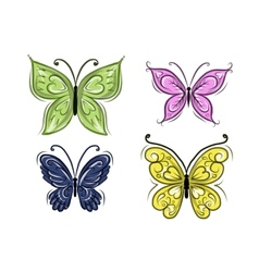 Set of ornamental butterflies for your design vector image vector image