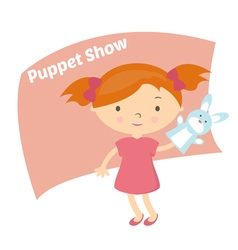 small girl with hand puppet toy vector image