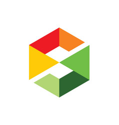 Square letter s cube colored technology logo vector