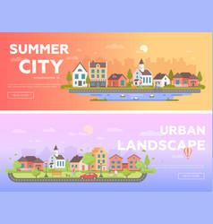 Summer city urban landscape - set of modern flat vector