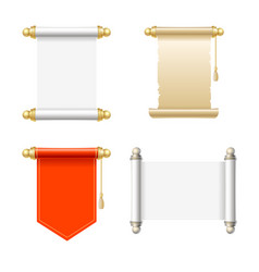 vintage blank paper scroll icon set vector image