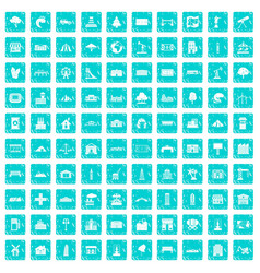 100 landscape element icons set grunge blue vector