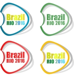 Stickers set brazil rio summer games 2016 vector