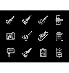 Music equipment white line icons Guitars vector image