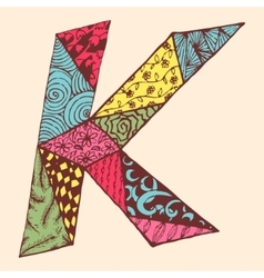 Vintage monogram k doodle colorful alphabet vector