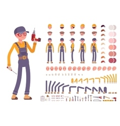 Male construction worker creation set vector