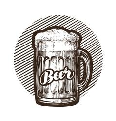 Craft beer mug with foam sketch vector