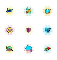 Virus icons set pop-art style vector