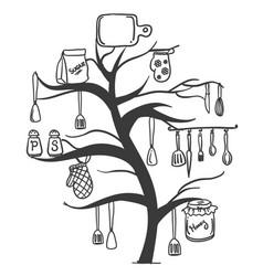 kitchen set tree vector image