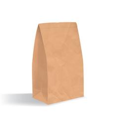 empty brown paper bag realistic triangular kraft vector image