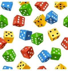 varicolored dice seamless pattern vector image