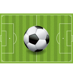 Soccer field with soccer ball vector