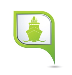Ship icon green map pointer2 vector