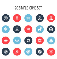 set of 20 editable faith icons includes symbols vector image