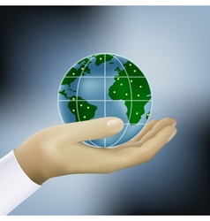 hands holding earth vector image