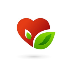 Heart and leaves symbol logo icon vector