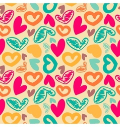 Fun seamless vintage love heart background in vector