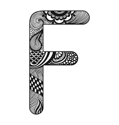 Zentangle stylized alphabet lace letter f in vector