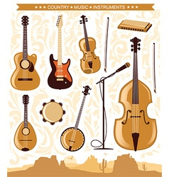 Country music instruments for design vector