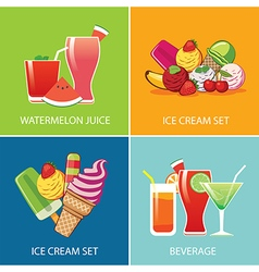 Beverage and ice cream for summer vector