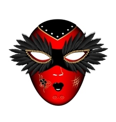 Carnival red black mask vector