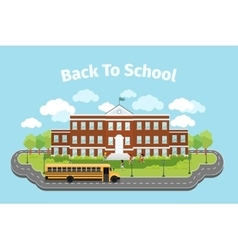 School building background with graduation vector