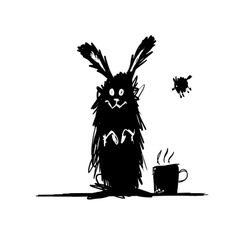 Funny rabbit black silhouette sketch for your vector
