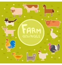 Farm animals in the green field vector