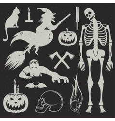 Halloween icons and badges set vector