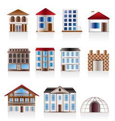 various variants of houses and buildings vector image