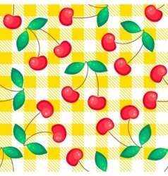 Tartan plaid with cherries seamless pattern vector