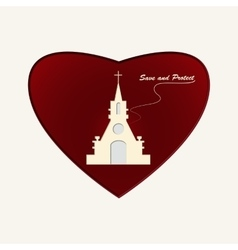 Temple of god in heart vector