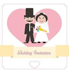 Wedding invitation retro card vector