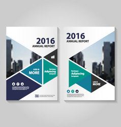 Triangle blue green purple annual report brochure vector