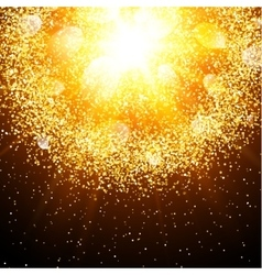 Abstract explosion with gold glittering elements vector