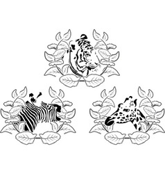 animals stencil set vector image vector image