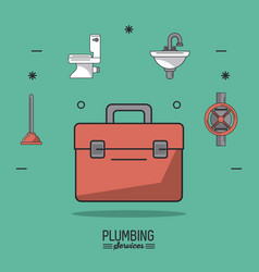 Aquamarine background poster plumbing services vector