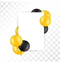 Black and gold ballons on transparent background vector