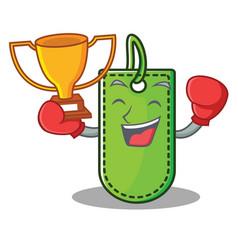 Boxing winner price tag mascot cartoon vector