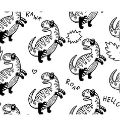 cartoon dinosaurs seamless pattern for kid in vector image