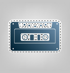 Cassette icon audio tape sign blue icon vector