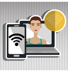 character laptop cellphone app vector image